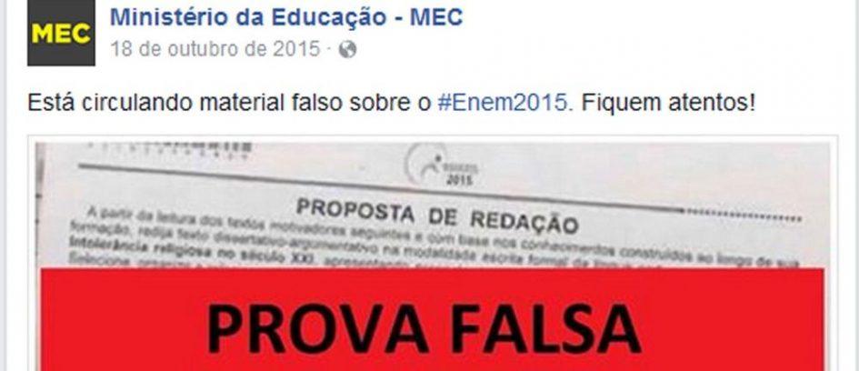 Tema da redação do Enem 2016 é igual ao de prova falsa divulgada pelo MEC em 2015